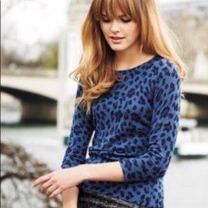 Blue Leopard Print Crewneck
